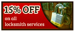 15% off on all locksmith services, coupon